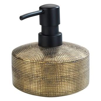 Ceramiczny ręcznie malowany dozownik do mydła w kolorze złota Wenko Rivara, 400 ml