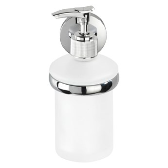 Biały ścienny dozownik do mydła z uchwytem ze stali nierdzewnej Wenko Cuba