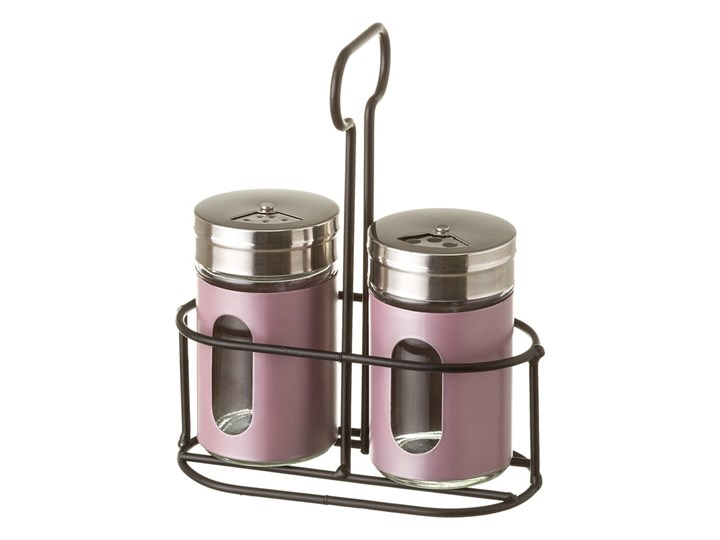 Zestaw 2 pojemników na przyprawy na stojaku Unimasa Pinky Solniczka i pieprzniczka Szkło Stal nierdzewna Zestaw do przypraw Kategoria Przyprawniki