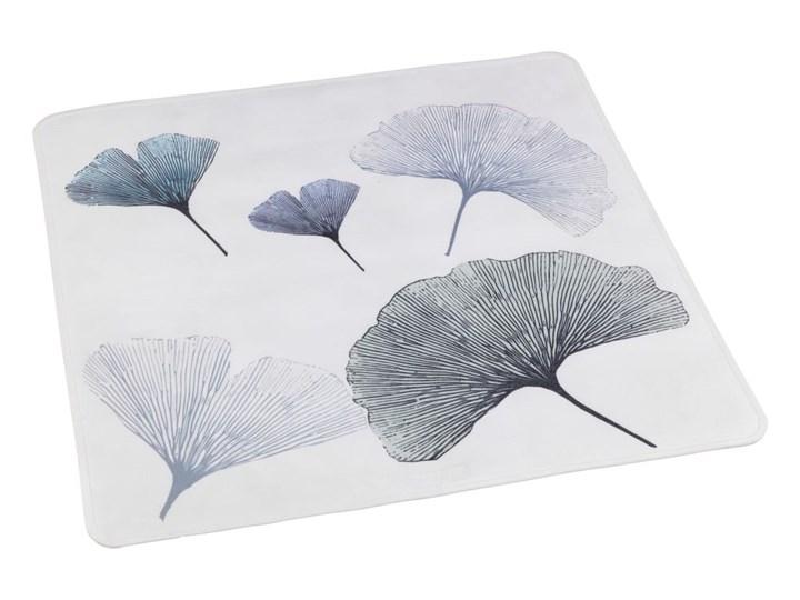 Biało-niebieska mata łazienkowa Wenko Ginkgo, 54x54 cm Kwadratowy Kolor Biały