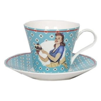 Filiżanka ceramiczna ze spodkiem Antic Line Vintage Bleu