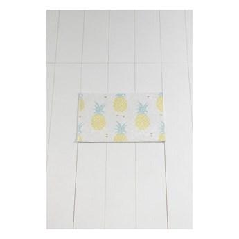 Biało-żółty dywanik łazienkowy Tropica Ananas, 60x40 cm