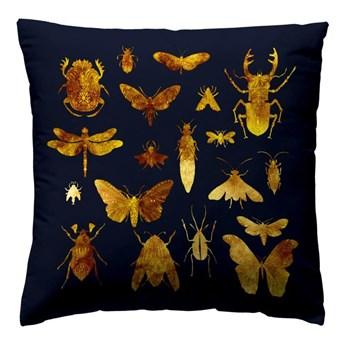 Poduszka welwet Insect granatowo-złota 40 x 40 cm