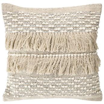 Poszewka na poduszke Malvina 100% bawelna bezowa fredzle 45 x 45 cm