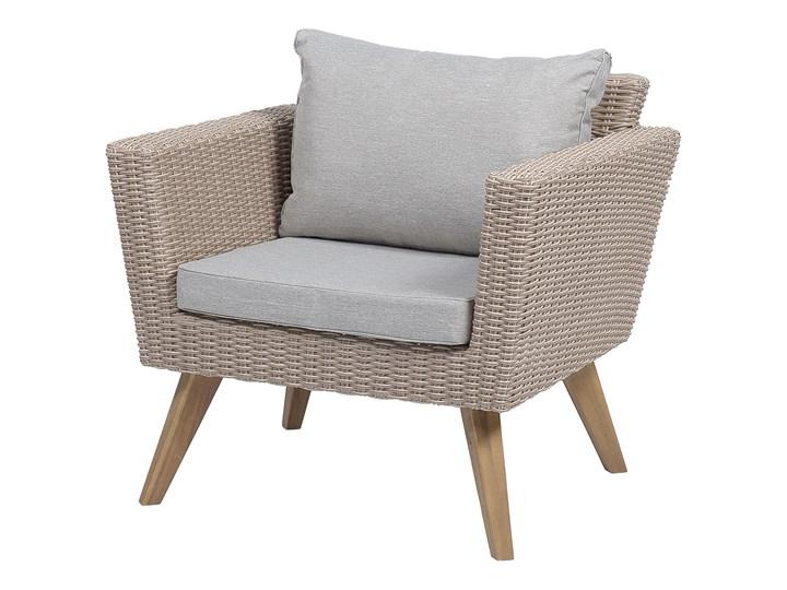 Zestaw mebli ogrodowych 4-osobowy wypoczynkowy szaro-brązowy technorattan sofa dwa fotele poduszki stolik kawowy Tworzywo sztuczne Zestawy kawowe Stal Zestawy wypoczynkowe Kategoria Zestawy mebli ogrodowych