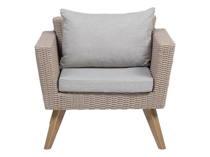 Zestaw mebli ogrodowych 4-osobowy wypoczynkowy szaro-brązowy technorattan sofa dwa fotele poduszki stolik kawowy Tworzywo sztuczne Zestawy kawowe Stal Zestawy wypoczynkowe Styl Nowoczesny
