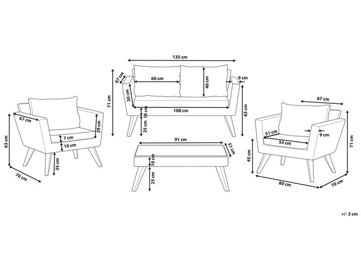 Zestaw mebli ogrodowych 4-osobowy wypoczynkowy szaro-brązowy technorattan sofa dwa fotele poduszki stolik kawowy Tworzywo sztuczne Stal Zestawy wypoczynkowe Zestawy kawowe Styl Nowoczesny Kategoria Zestawy mebli ogrodowych