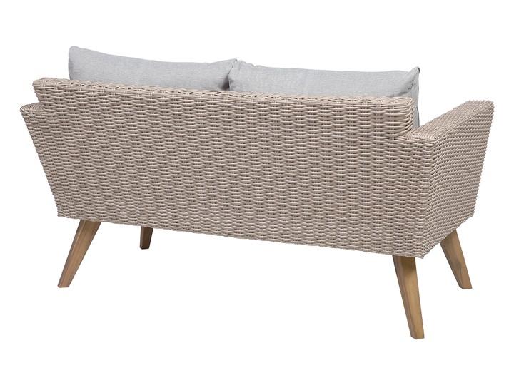 Zestaw mebli ogrodowych 4-osobowy wypoczynkowy szaro-brązowy technorattan sofa dwa fotele poduszki stolik kawowy Zestawy kawowe Zestawy wypoczynkowe Stal Kategoria Zestawy mebli ogrodowych Tworzywo sztuczne Styl Nowoczesny