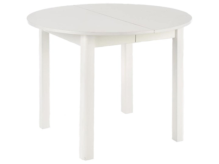 Okrągły biały stół rozkładany - Ewilton Długość 142 cm Płyta MDF Długość 102 cm Drewno Styl Nowoczesny Wysokość 76 cm Szerokość 102 cm Pomieszczenie Stoły do jadalni
