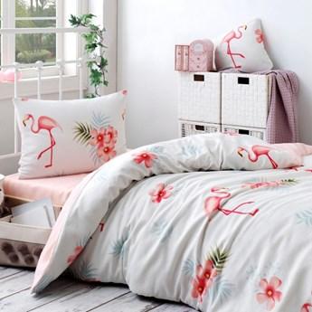 SELSEY Komplet pościeli Flamingo 160x220 cm z poszewką na poduszkę 50x70 cm i z prześcieradłem kremowy