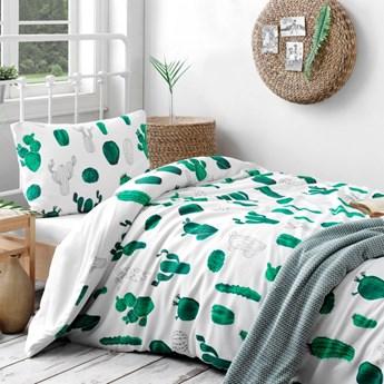 SELSEY Komplet pościeli Kaktusy 160x220 cm z poszewką na poduszkę 50x70 cm i z prześcieradłem