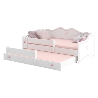 SELSEY Łóżko dziecięce podwójne Nanako 160x80 cm białe z różowymi zdobieniami i uchwytami