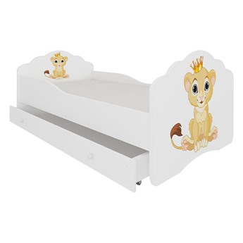 SELSEY Łóżko dziecięce Sissa 140x70 cm Lew z szufladą