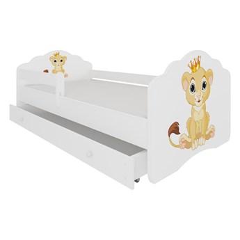 SELSEY Łóżko dziecięce Sissa 160x80 cm Lew z barierką i szufladą