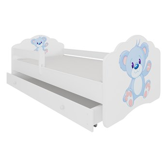 SELSEY Łóżko dziecięce Sissa 140x70 cm Niebieski Miś z barierką i szufladą
