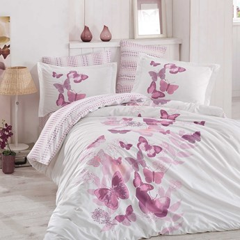 SELSEY Komplet pościeli Cossidae 200x220 cm z dwiema poszewkami na poduszkę 50x70 cm i z prześcieradłem w odcieniach różu