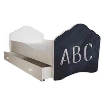 SELSEY Łóżko dziecięce Sissa 140x70 cm z napisem ABC z szufladą