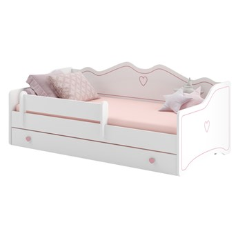 SELSEY Łóżko dziecięce Nanako 160x80 cm białe z różowymi zdobieniami i uchwytami