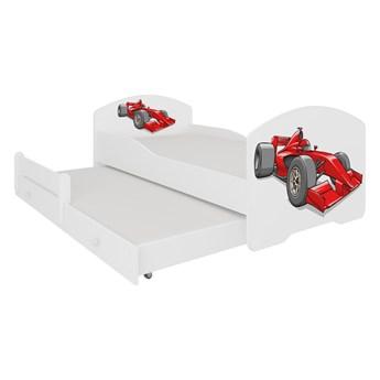 SELSEY Łóżko dziecięce podwójne Blasius 140x70 cm z samochodem wyścigowym