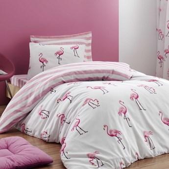 SELSEY Komplet pościeli Flamingo Stripes 160x220 cm z poszewką na poduszkę 50x70 cm i z prześcieradłem
