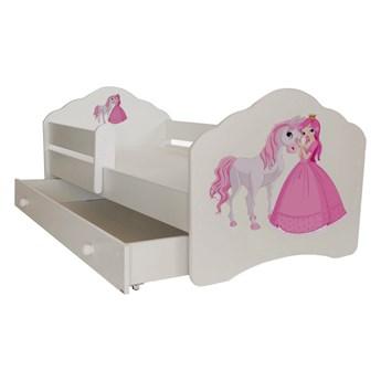 SELSEY Łóżko dziecięce Sissa 140x70 cm Księżniczka i Koń z barierką i szufladą