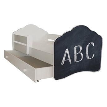 SELSEY Łóżko dziecięce Sissa 140x70 cm z napisem ABC z barierką i szufladą