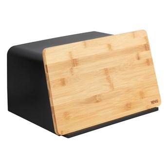 Czarny chlebak z bambusową pokrywą Wenko Kubo