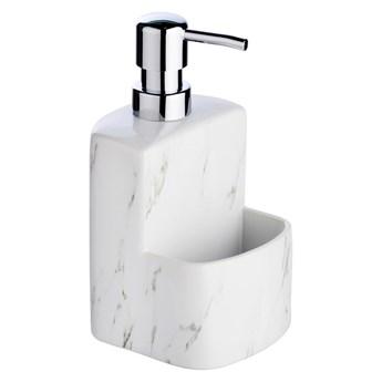 Biały ceramiczny dozownik do mydła Wenko Festival Marble, 380 ml