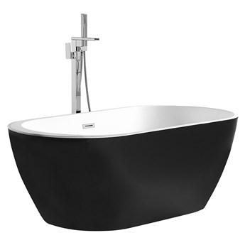 Wanna wolnostojąca czarna akrylowa 170 x 75 cm system przelewowy owalna retro