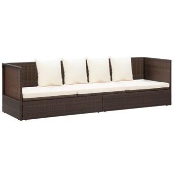 Brązowa kanapa ogrodowa z poduszkami - Kamara