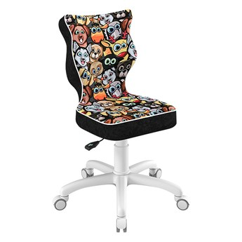SELSEY Krzesło biurowe młodzieżowe Petit z motywem zwierząt na białej podstawie rozmiar 3