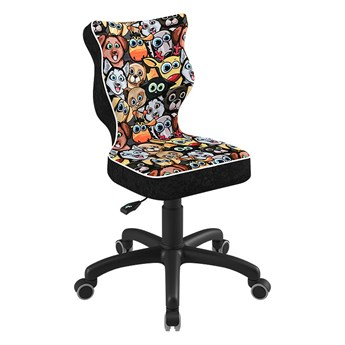 SELSEY Krzesło biurowe młodzieżowe Petit z motywem zwierząt na czarnej podstawie rozmiar 4