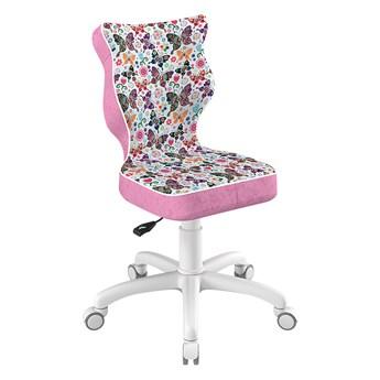 SELSEY Krzesło biurowe młodzieżowe Petit z motywem motyli na białej podstawie rozmiar 4