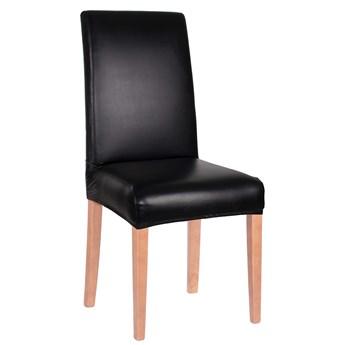 Pokrowiec na krzesło elastyczny skórzany czarny