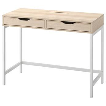 IKEA ALEX Biurko, Biała bejca/imit. dębu, 100x48 cm