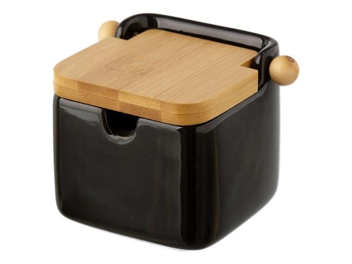 Czarny pojemnik kamionkowy na sól z bambusowym wieczkiem Unimasa 250 ml