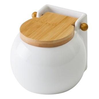 Biały pojemnik na sól z wieczkiem Unimasa Ceramic, 700 ml