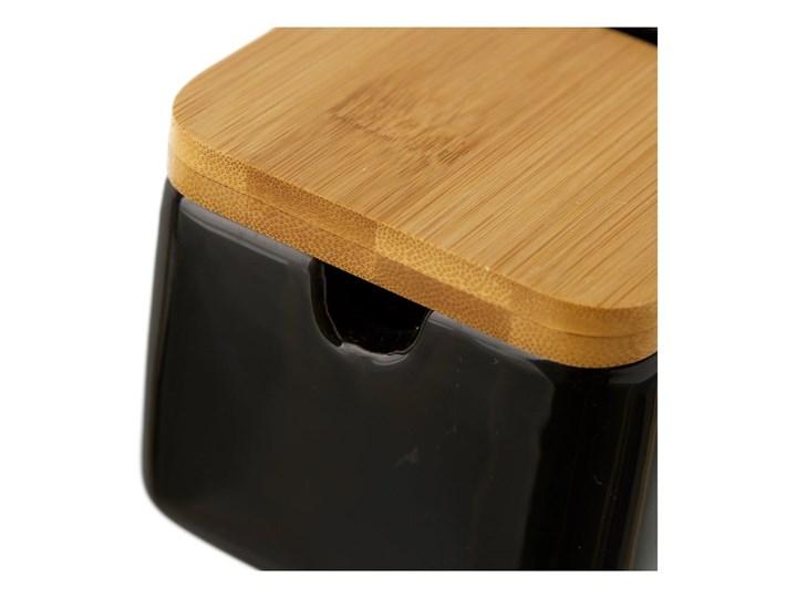 Czarny pojemnik kamionkowy na sól z bambusowym wieczkiem Unimasa 250 ml Drewno Ceramika Na produkty sypkie Typ Pojemniki