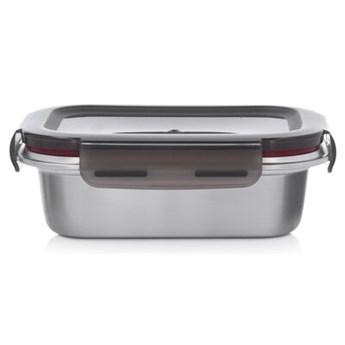 Pojemnik na żywność lunchbox prostokątny DUKA IDEAL 600 ml srebrny metal
