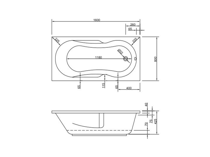 Wanna Litoria 160x80 Prostokątna Długość 160 cm Symetryczne Akryl Kategoria Wanny