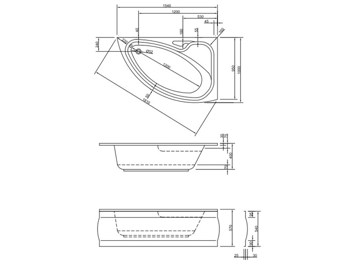 Wanna Elaphe 155x100 Lewa Asymetryczne Akryl Kategoria Wanny