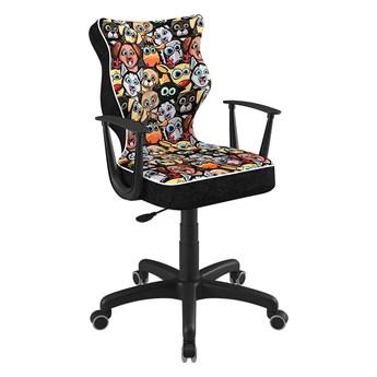 SELSEY Krzesło biurowe młodzieżowe Norm z motywem zwierząt na czarnej podstawie rozmiar 5