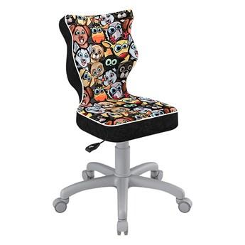 SELSEY Krzesło biurowe młodzieżowe Petit z motywem zwierząt na szarej podstawie rozmiar 3