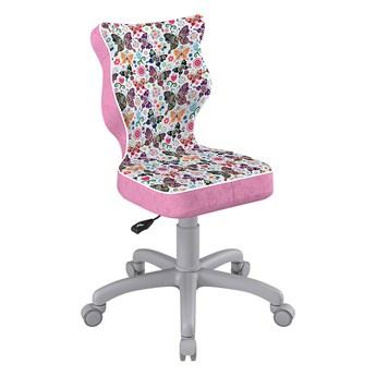 SELSEY Krzesło biurowe młodzieżowe Petit z motywem motyli na szarej podstawie rozmiar 4