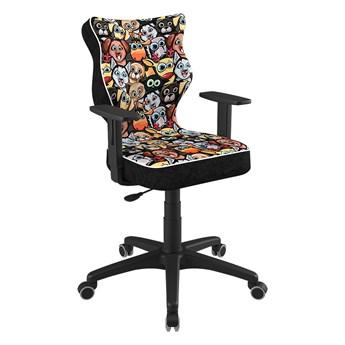 SELSEY Krzesło biurowe młodzieżowe Duo z motywem zwierząt na czarnej podstawie rozmiar 5