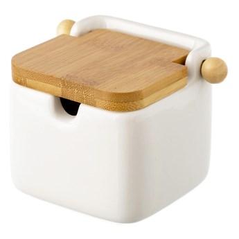 Biały pojemnik kamionkowy na sól z bambusowym wieczkiem Unimasa 250 ml