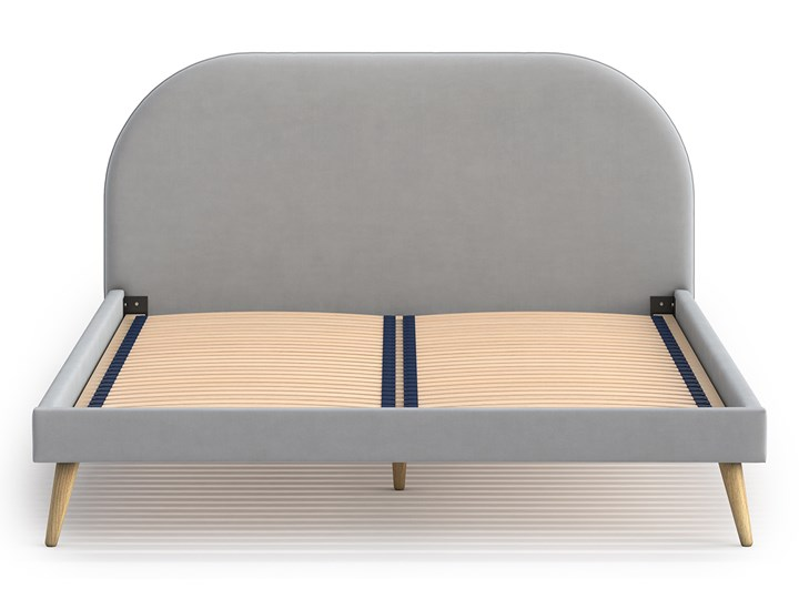 Łóżko Molly Double Bed, Aria Łóżko drewniane Tkanina Styl Skandynawski