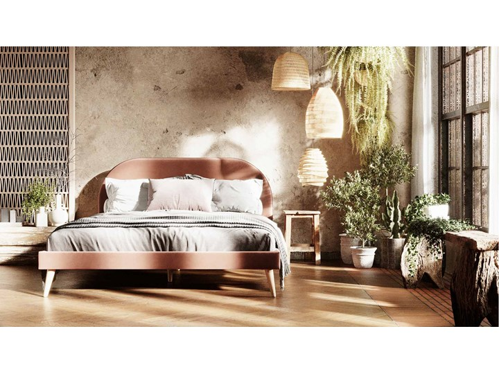 Łóżko Molly Single Bed, Aria Tkanina Łóżko tapicerowane Styl Skandynawski