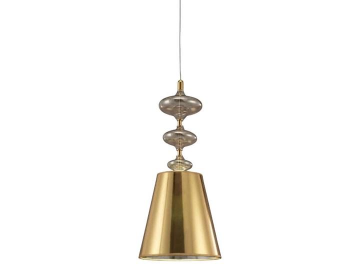 NOWOCZESNA LAMPA WISZĄCA ZŁOTA VENEZIANA W1 Metal Chrom Szkło Tkanina Lampa z kloszem Kolor Złoty