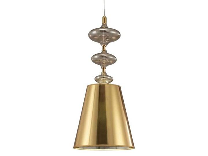 NOWOCZESNA LAMPA WISZĄCA ZŁOTA VENEZIANA W1 Metal Chrom Tkanina Kolor Złoty Szkło Lampa z kloszem Styl Nowoczesny